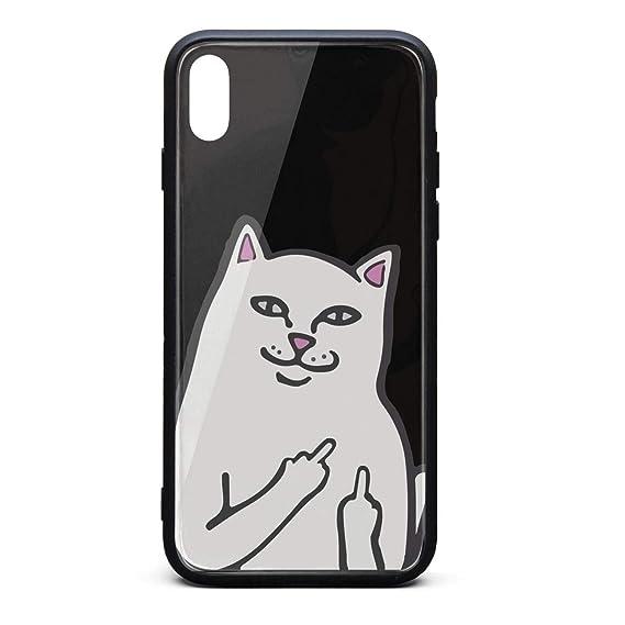 buy online bca61 f2d64 Amazon.com: Fashion Phone Case for iPhone X Humor RIPNDIP CAT Rubber ...