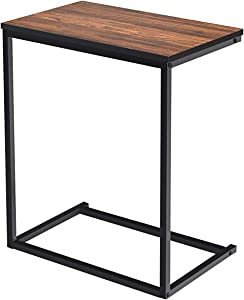 GOFLAME Sofa Side End Table with Hardwood C Table Laptop Holder End Stand Desk Coffee Table Notebook Tablet Snack Table Sofa Portable Workstation (Coffee)
