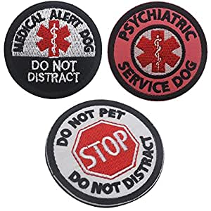 3PCS Stop Do Not Pet Do Not Distract Patch, Medical Alert Dog Do Not Distract Patch, Psychiatric Service Dog Medical Alert Symbol Fastener Hook & Loop Patch for Pet Harnesses - 1.97inch Diameter