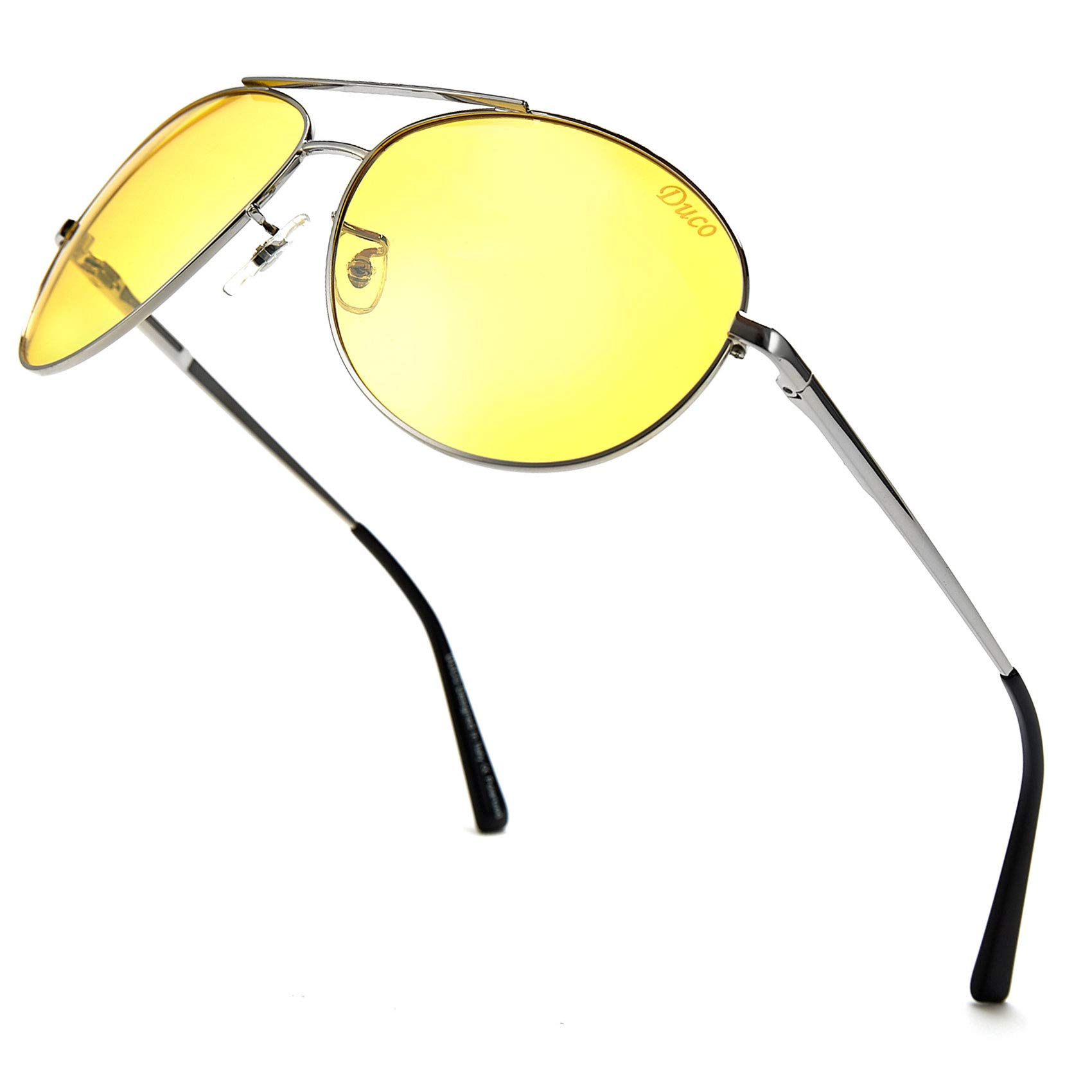 DUCO Men's Night-Vision Glasses Driving Glasses Polarized Anti-Glare 3025y (Shine Sliver, Yellow) by DUCO