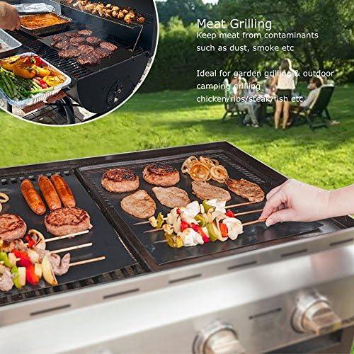 Lot de 5 tapis de cuisson anti-adhésifs pour barbecue au charbon, au gaz ou électrique Résistants à la chaleur, réutilisables et faciles à nettoyer Pinces à barbecue 40x30 cm