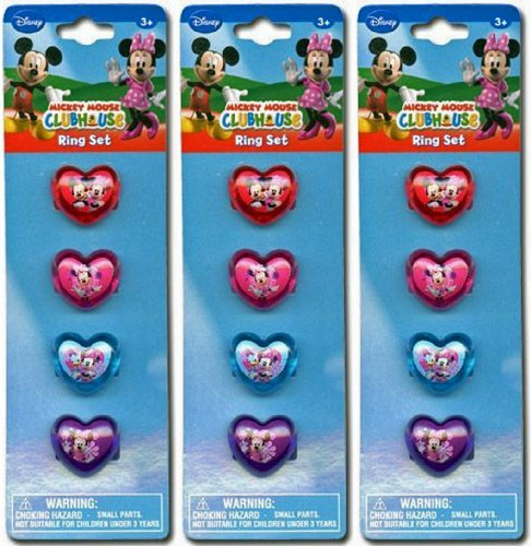 12-Piece Disney Minnie Mouse Plastic Heart-Shaped Rings ()