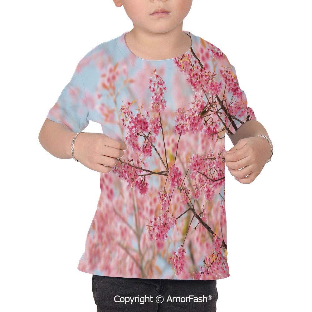 Floral Lovely Printed T-Shirts,Crew Neck T-Shirt of Girls,Polyester,Japanese Sak