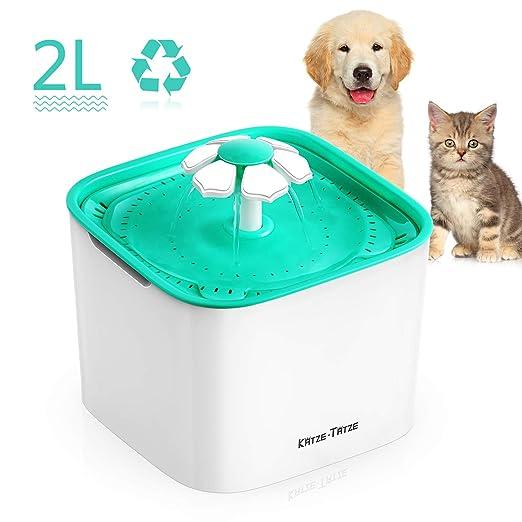 Katze-Tatze Automática Fuente de Agua para Mascotas Gatos Perros, Silencioso Bebedero Fuente con Filtro de Carbón, 2L 3 Modos Ajustables