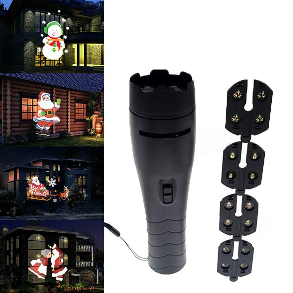 BOLUOYI Landscape Path Lights,Christmas Lights White Wire,LED Projector Flashlight Landscape Outdoor Xmas Party Garden Film Lamp 4 Pattern