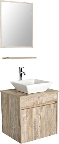24 Wall Mounted Bathroom Vanity and Sink Combo,Natural Color Vanity Set,White Ceramic Square Vessel Sink Top,W Polish Faucet,Pop Up Drain,Mirror Inc