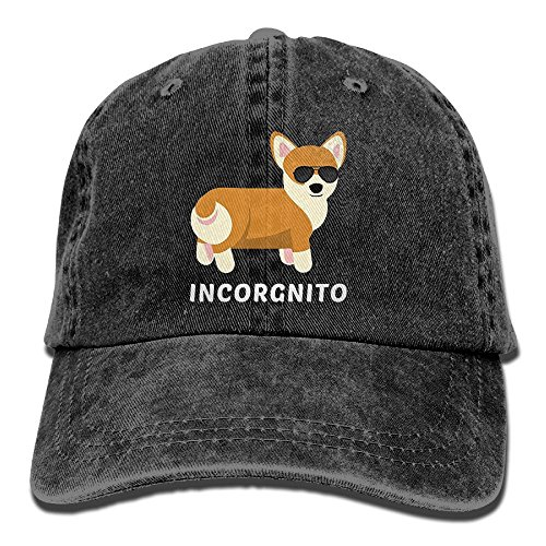 Men Funny Womens Cap - REBELN Funny Corgi Adjustable Cowboy Style Baseball Cap Hat for Unisex Adult