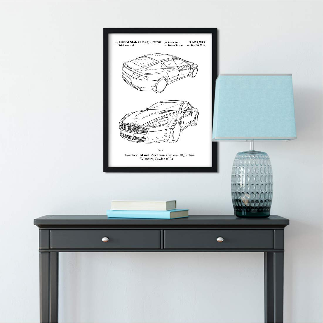 Andaz Press Unframed Modern Black Patent Print Wall Art Decor Poster, 8.5x11-inch, Planes, Trains,...