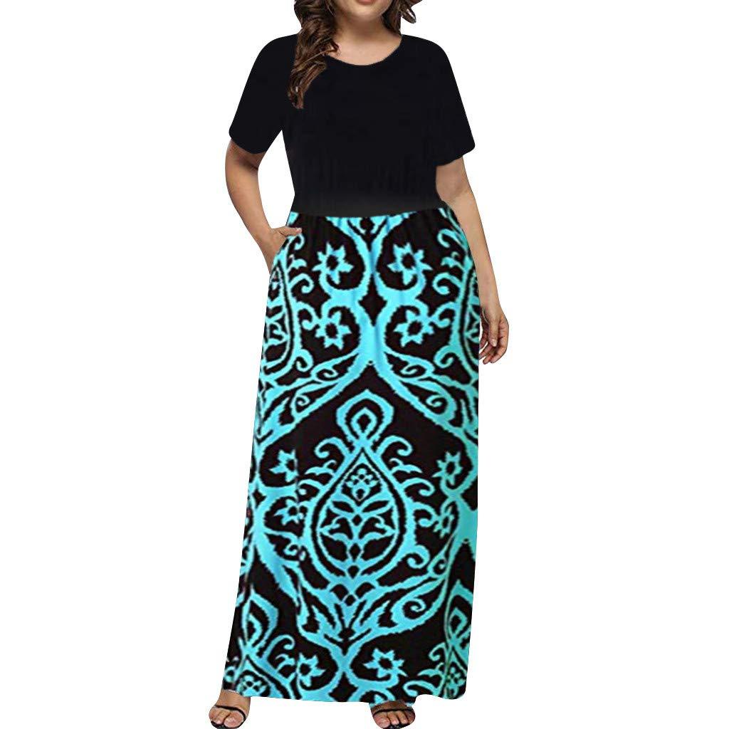 Women's Bohemian Dress Plus Size SengeiO Neck Vintage Floral Print Short Sleeve Boho Beach Maxi Dress (3XL, Blue)