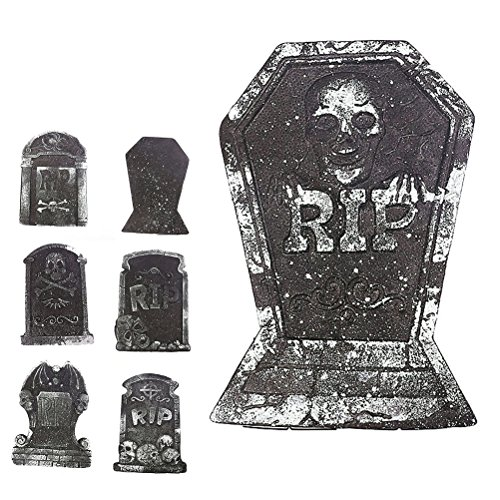 Tinksky Halloween Foam Tombstone Skeleton Tombstone Haunted House RIP Stone Grisly Props Party Decor Yard Decoration(Random (Rip Gravestone Halloween)