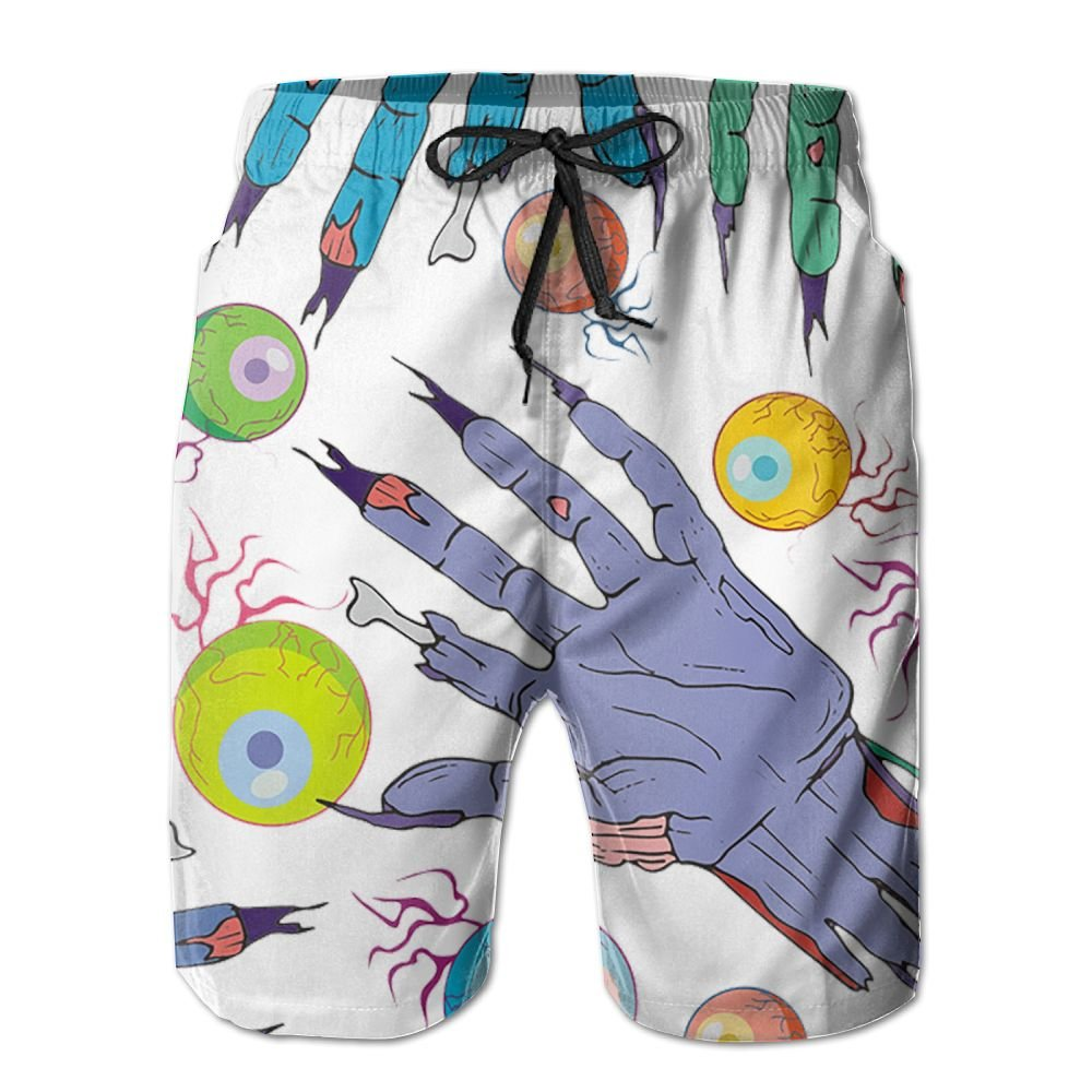 Sunshine Eyeball Zombie Hand Mens Beach Shorts Elastic Waist Pockets Lightweight Swimming Board Short Quick Dry Short Trunks