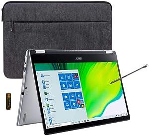 "New_Acer_Spin 3 14"" Laptop, 10th Gen Intel Core i5-1035G1, Widescreen IPS Backlit FHD (1920 x 1080) Display, 8 GB RAM, 256 GB SSD + 32GB USB, HDMI, Webcam, Fingerprint Reader, win10 w/ Stylus & Sleeve"
