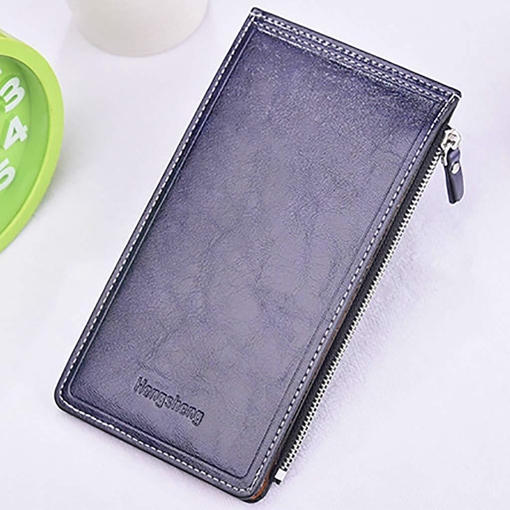 ❤️Sunbona Slim Cardholder Wallet Coin Women Men Purse Wallet ID Card Cash Holder Long Clutch Zip Purse Card holder Wallet Black