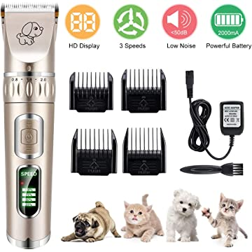 YOUTHINK Dog Shaver Clippers Pet Grooming Kits,Quiet Rechargeable Cordless Dog Trimmer Hair Clippers Set for Pets Clippers with Combs, Electric Animal Clippers for Small Medium Large Dogs Cats