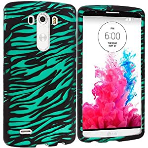 Accessory Planet(TM) Black/Baby Blue Zebra 2D Hard Snap-On Design Rubberized Case Cover Accessory for LG G3 by lolosakes