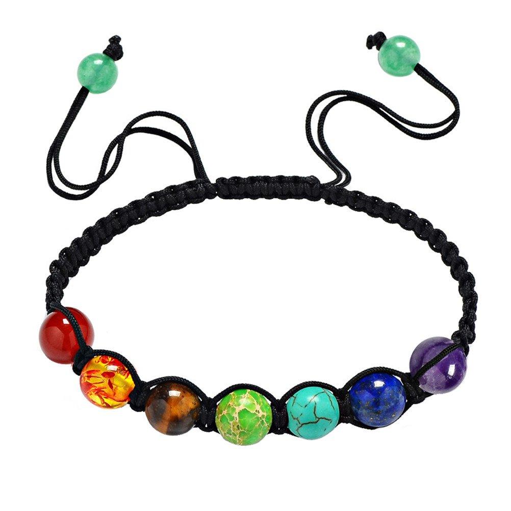 HIJONES Unisex Jewelry 7 Chakra Perline Arcobaleno Pietra Preghiera Equilibrio Guarigione Energia Braccialetto SY-Xxxxx620