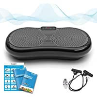Bluefin Fitness Ultraflache Vibrationsplatte mit Leisem 1000-Watt Motor | LCD Display & Bluetooth Lautsprecher | 5 Trainings-Programme - 180 Level | Inkl. Fernbedienung, Trainingsbänder & Übungsposter