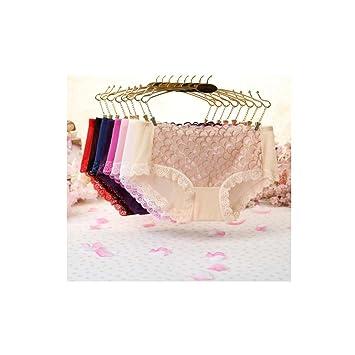ropa interior femenina 8 piezas de hilado de la red del cordón de la cintura baja