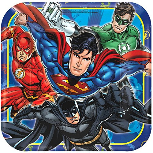 Ultimate Justice League Party!!!Birthday Party Decoration Supplies Bundle Pack with 16lg&16sm Plates 16-9oz Cups, Matching Table Cover&Jumbo Banner,50 Napkins(Bonus Matching Party Straw Pack)