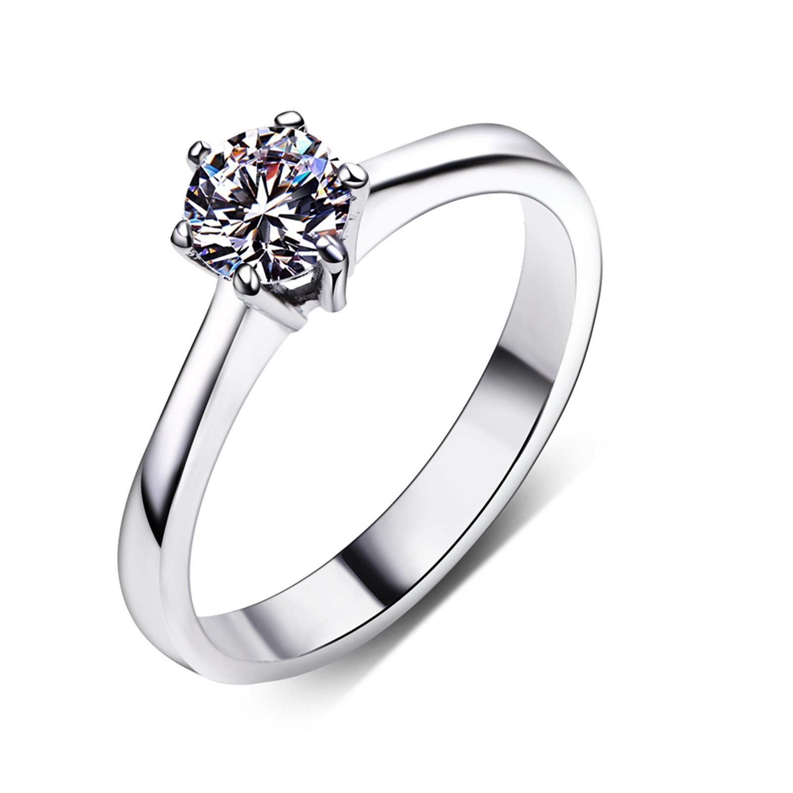 Beydodo Silver Plated Wedding Rings for Women Size 7 Solitaire Ring 6-prong Setting Round Cut Crystal