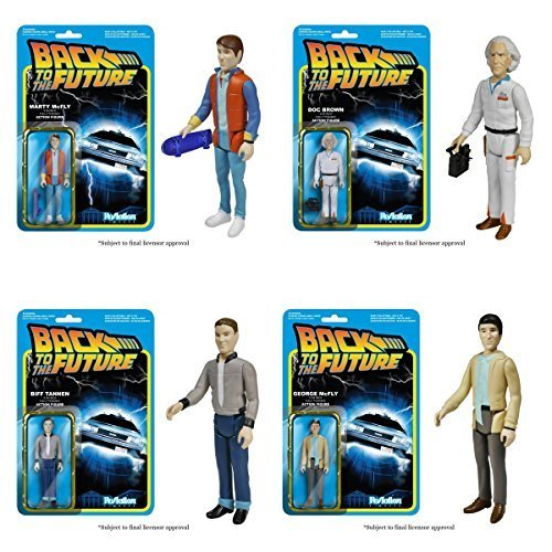 Back To The Future Reaction Figure Set Of 4 (Doc Brown, Marty McFly, George McFly, Biff Tannen) by FunKo