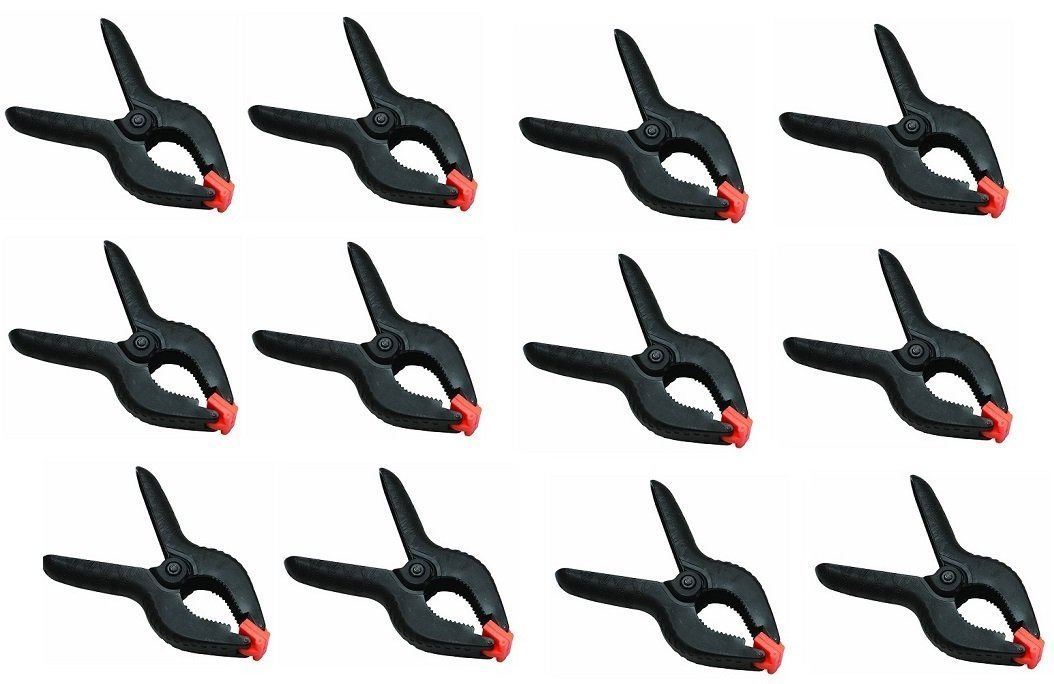 12 Pack Heavy Duty Spring Clamps, 4.5' Plastic Muslin Clamps (4') 4.5 Plastic Muslin Clamps (4) Black Duck Brand