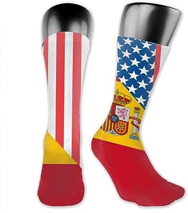 Calcetines largos unisex con la bandera de Estados Unidos y España: Amazon.es: Ropa y accesorios