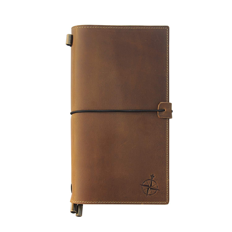 22x11.5cm Cuaderno de Cuero Con Bolsillos: Organizador de Diario de Viaje Recargable Viajeros Organizaci/ón: Inserciones En Blanco Diario de Cuero Genuino Hecho A Mano Con Bolsillos Para Escribir