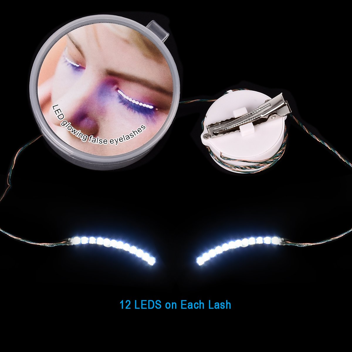 Homate LED Eyelashes, Waterproof LED Light F. Lashes Luminous Shining Charming Eyelid Tape with 7 Modes to Switch for Party Bar Night Club Concerts Birthday Gift Halloween