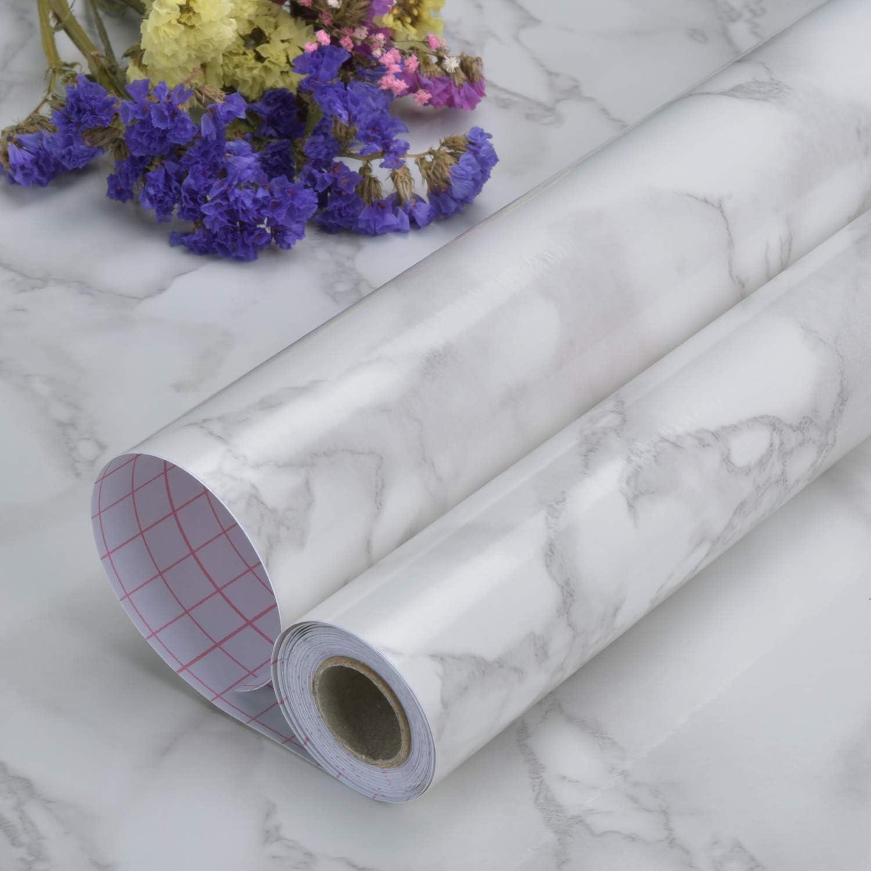 Art3d Papier contact autocollant pour comptoirs 45 x 500 cm Marbre gris