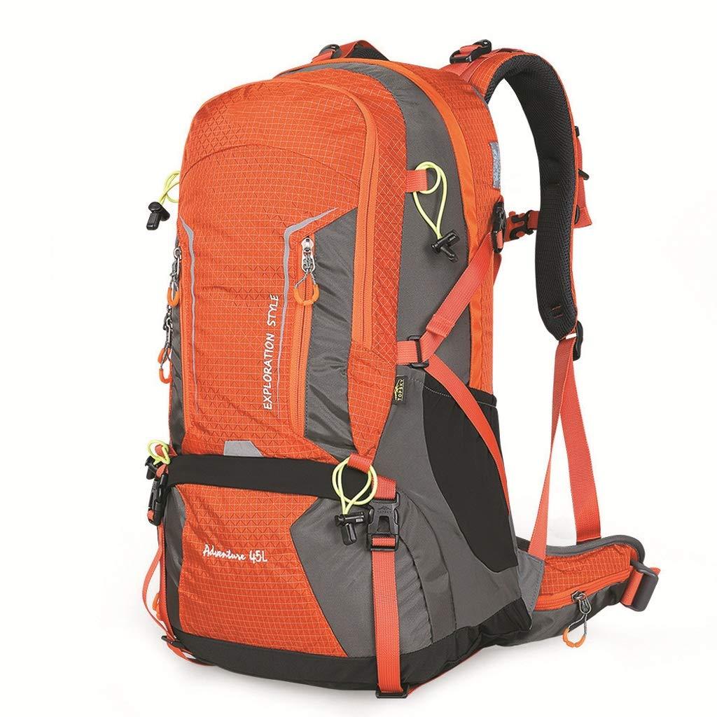 アウトドア登山バッグショルダー男性と女性の大容量ハイキング45Lバックパック(ミリタリーグリーン) (色 : Orange)  Orange B07GZQ37FK