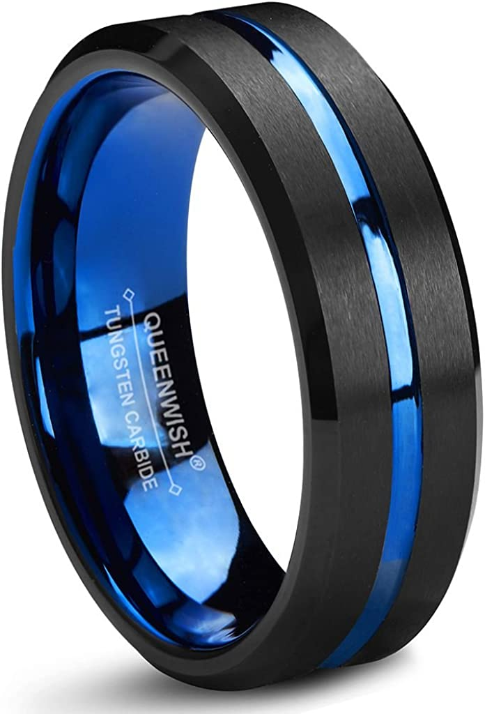 Queenwish Blue Black Tungsten Carbide Wedding Band 6mm Two Tone Brushed Couples Ring