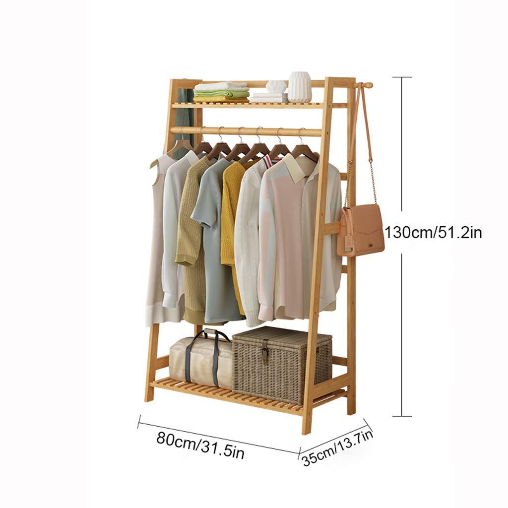 Garment Clothing Rack Bambus Holz hängende Kleiderständer und 2-Tier-Schuh-Kleidung-Speicher-Organisator-Regale (größe   M)