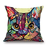 alphadecor throw cushion covers of cat 16 x 16 inches / 40 by 40 cm,best fit for home office,family,wedding,pub,kids boys,girls both sides
