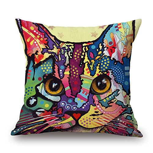 Artistdecor Cat Throw Pillow Case 16 X 16 Inches / 40 By 40 Cm Gift Or Decor For Her,deck Chair,coffee House,floor,kids,saloon - Each (Wig The Old Hippie)