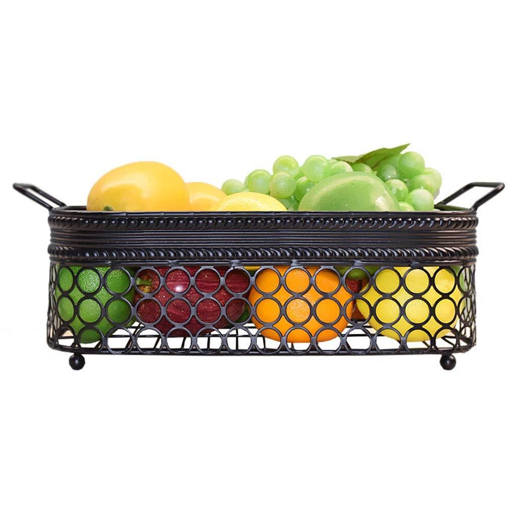 クリエイティブフルーツバスケット耳ブレッドボウル、キッチン、果物と野菜のバスケット錬鉄製デスクトップ化粧品化粧品収納 (色 : 黒)  黒 B07PJJJD65