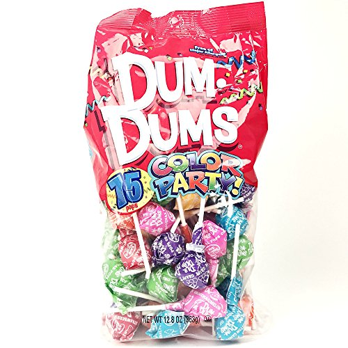 Rainbow Dum Dums Color Party - Assorted Flavors - 75 Count Bag - 12.8 ounces - Includes Free How To Build a Candy Buffet Guide]()