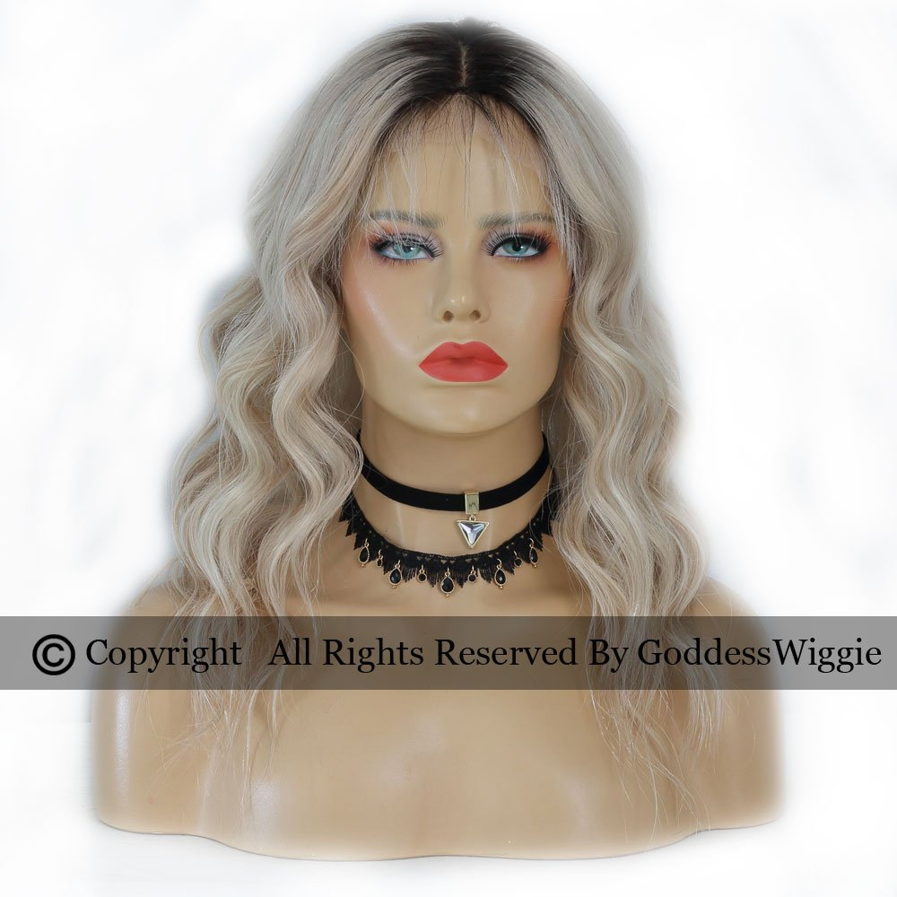 Goddess Wiggie Human Virgin Hair Lace Front Ombre Wigs Hair Colour Balayage Human Hair Blonde Wigs For Women (16inch 180density)