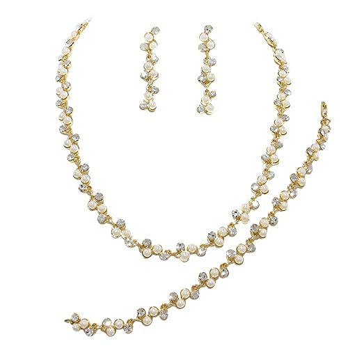 c72cde89844d0 Amazon.com: 3 Piece Cream ivory Pearl Bridal Necklace Set With ...
