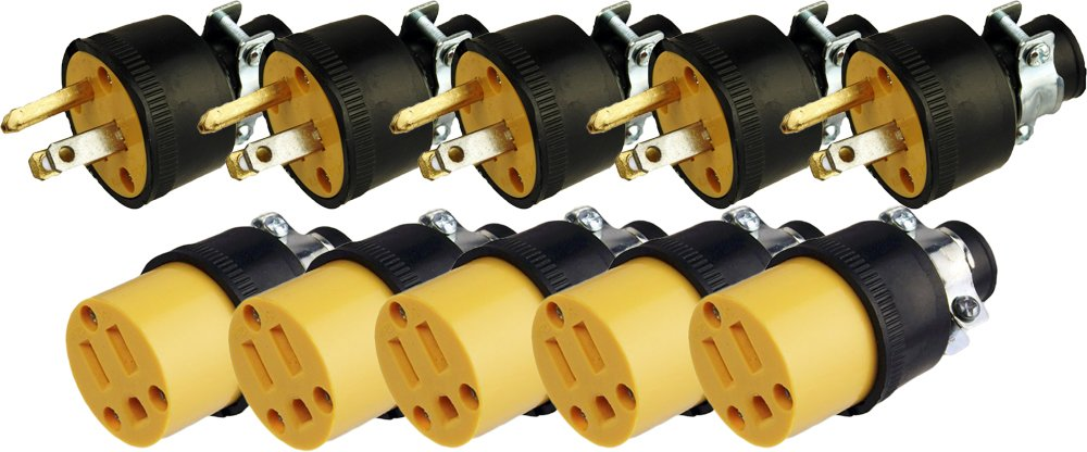 Black Duck Brand Male & Female Extension Cord Replacement Electrical Plugs End (10 Pieces)