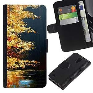 APlus Cases // Samsung Galaxy S4 IV I9500 // Otoño Otoño Lago Naturaleza Oro Brown // Cuero PU Delgado caso Billetera cubierta Shell Armor Funda Case Cover Wallet Credit Card