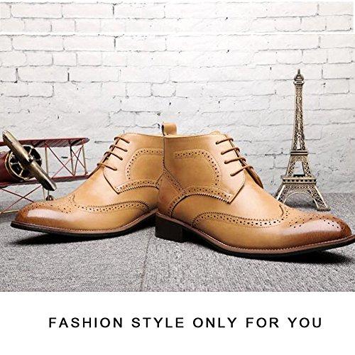 Pp Moda Uomo Vintage Zeppa Intagliata Alta Alla Caviglia Alta Stivali Alti In Pelle Oxford Scarpe Gialle