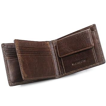 1c158dfa6b490 Herren Rinder Leder Geldbörse Portemonnaie mit RFID Blocker Schutz  Geldbeutel Brieftasche mit Kreditkarten Fach (Braun