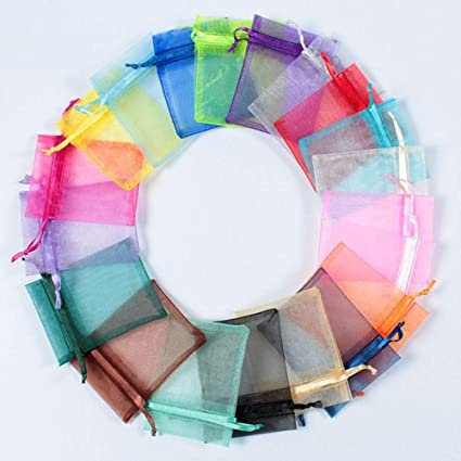Iloving Small Gift Bags Organza Wedding Favor Bags 4x6 Jewelry Pouch Candy Bags 100 Pcs Mixed Color Organza Satin Drawstring Mini Party Wedding
