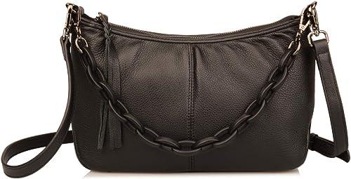 WOMENS SMALL GENUINE LEATHER CROSSBODY BAG SHOULDER HANDBAG PURSE ZIP POCKETS
