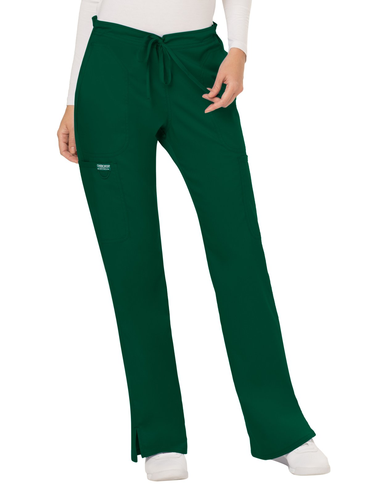 WW Revolution by Cherokee Women's Mid Rise Moderate Flare Drawstring Pant, Hunter Green, 2XL