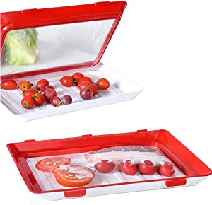 Food Preservation Tray Vacuum Seal Reusable and Stackable Food Storage Container with Elastic Lid Kitchen Refrigerator to Store Vegetables Fruits and Meat Keeps Fresh (2 Pack)