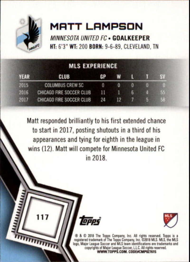 2018 Topps MLS Major League Soccer Base #117 Matt Lampson