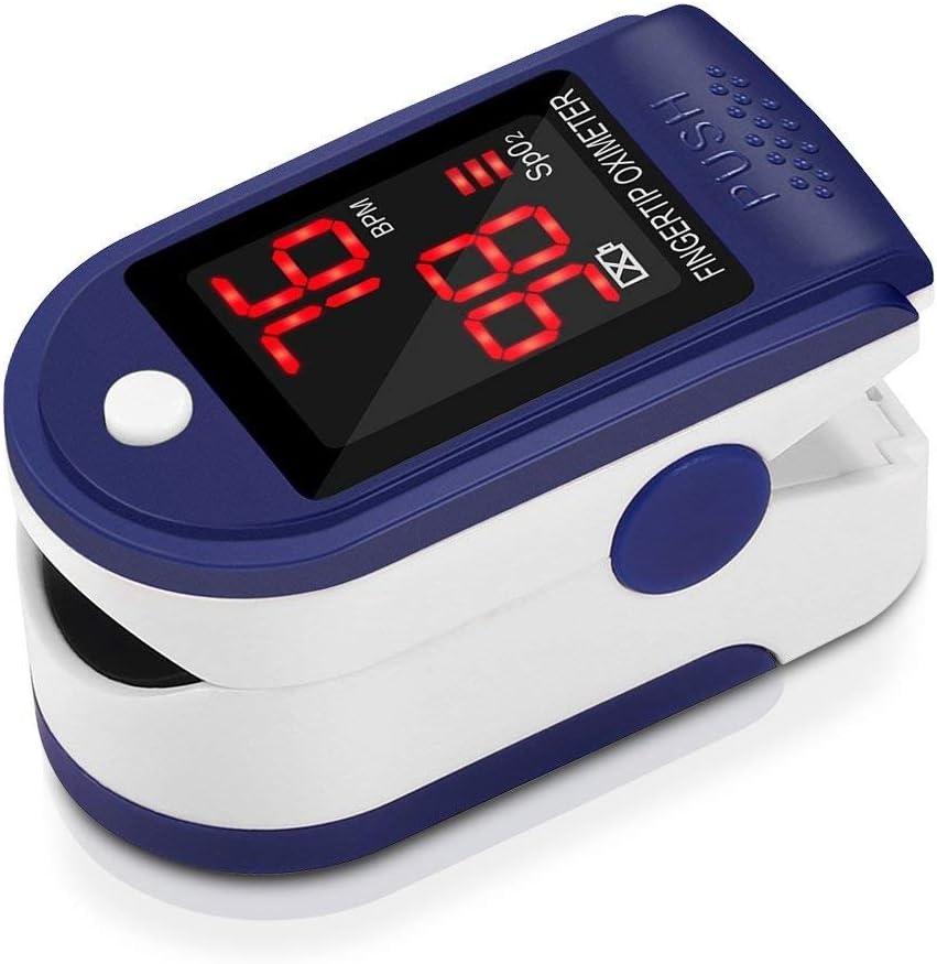 Pulsómetro Digital Oxímetro de Pulso Pulsioxímetro de Dedo con Pantalla LED, Monitor de Frecuencia Cardíaca y Medidor de Oxígeno en Sangre SpO2 para Hogar y Profesional, Adultos y Niños, Uso Deportivo