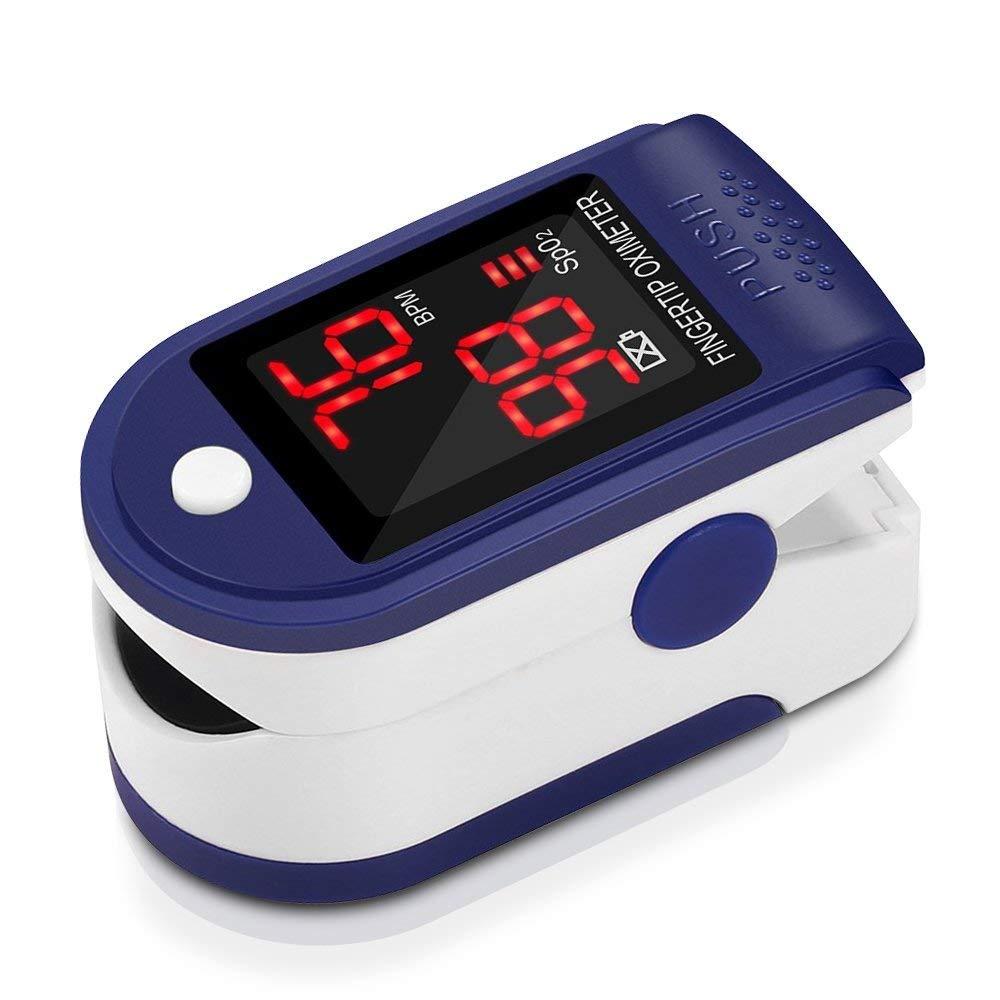 Pulsómetro Digital Oxímetro de Pulso Pulsioxímetro de Dedo con Pantalla LED, Monitor de Frecuencia Cardíaca